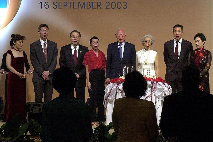 From left: Mrs Lee Suet Fern; Mr Lee Hsien Yang; then Chief Justice Yong Pung How; Dr Lee Wei Ling; Mr Lee Kuan Yew and his wife, Madam Kwa Geok Choo; Mr Lee Hsien Loong and Ms Ho Ching at a celebration on Mr Lee's 80th birthday in 2003. In his parli