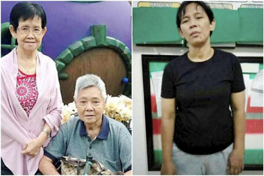 Mr Chia Ngim Fong, 79, and Madam Chin Sek Fah, 78, (left) were murdered by their Indonesian maid Khasanah, 41, on June 21, 2017.