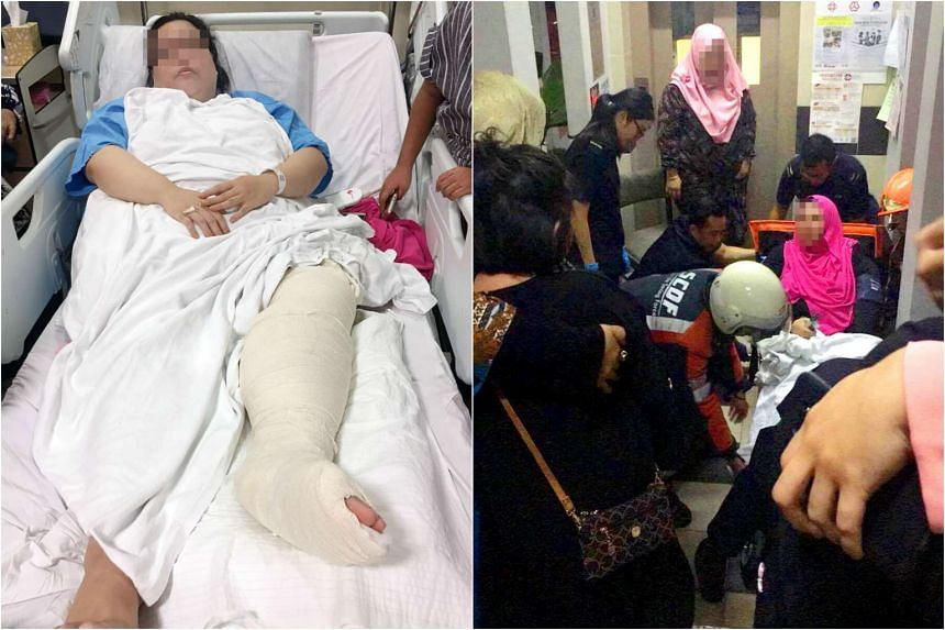 (Left) A woman, in her 30s, fractured her left leg after the lift plunged four floors. (Right) The scene at Block 542 Jurong West Avenue 1 on Saturday night after the lift fell four floors.