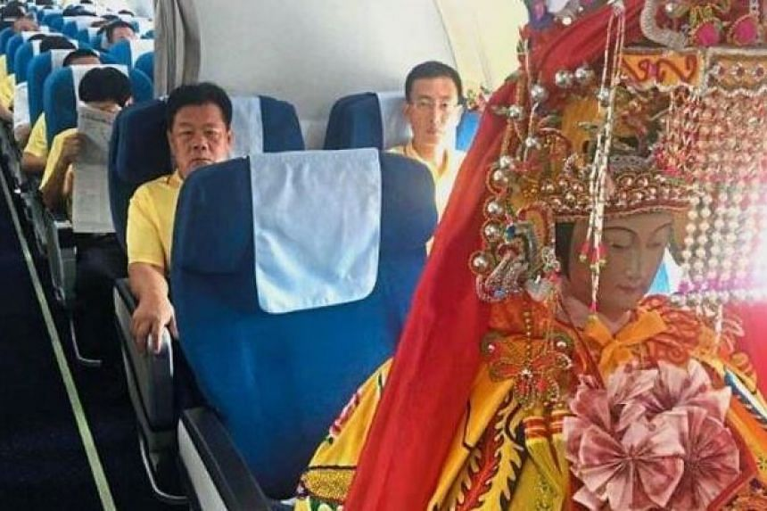 A statue of the Mazu goddess was flown in on a Xiamen Airline business class flight from China to Malaysia.