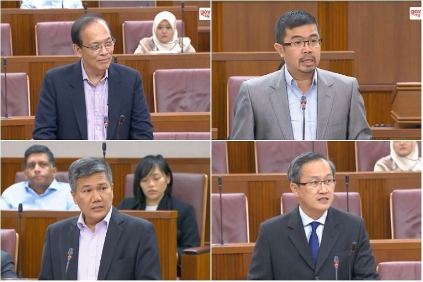 Clockwise from top left: Mr Charles Chong (Punggol East), Mr Zainal Sapari (Pasir Ris-Punggol GRC), Mr Lim Biow Chuan (Mountbatten) and Nominated MP Azmoon Ahmad.
