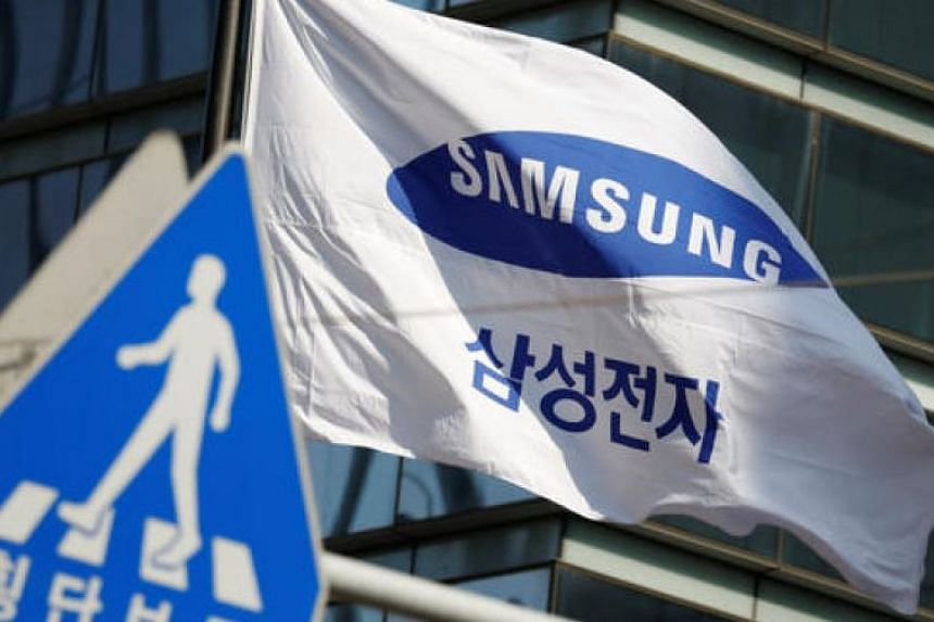 A flag bearing the logo of Samsung Electronics is seen at its office in Seoul.