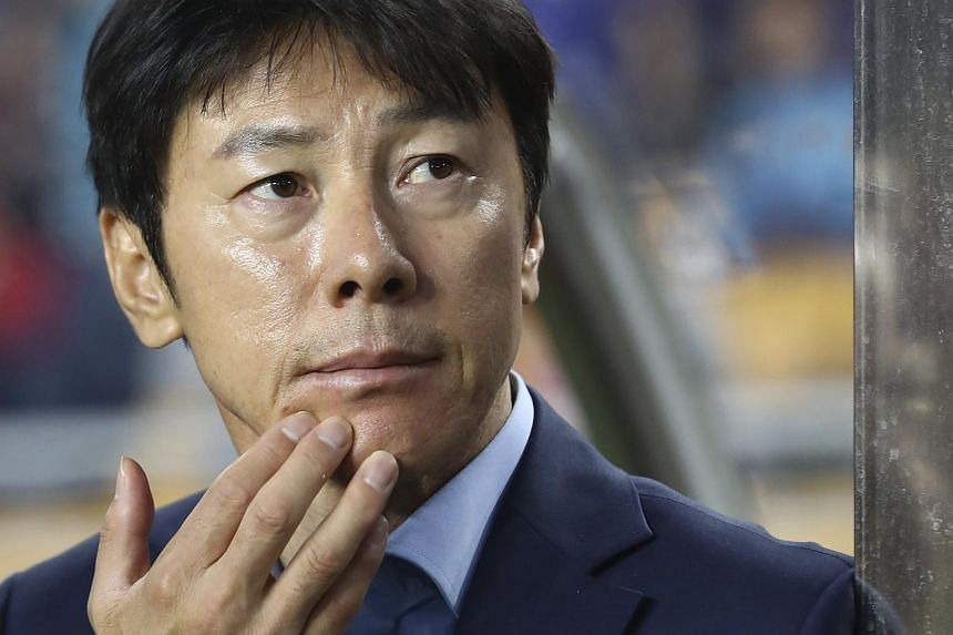 South Korean under-20 football team boss Shin Tae-yong waiting for the start of a U-20 World Cup A match against England at Suwon World Cup Stadium in Suwon, Seoul, South Korea on May 26, 2017.
