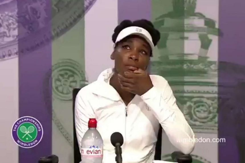 Venus Williams was reduced to tears during a Wimbledon press conference when she was asked about the fatal car crash she was involved in.