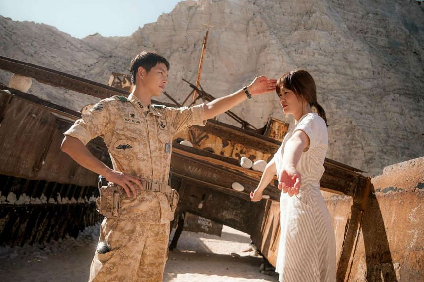 Television still: Descendants Of The Sun, starring Song Joong Ki (left) as an army captain and Song Hye Kyo (right) as a doctor.