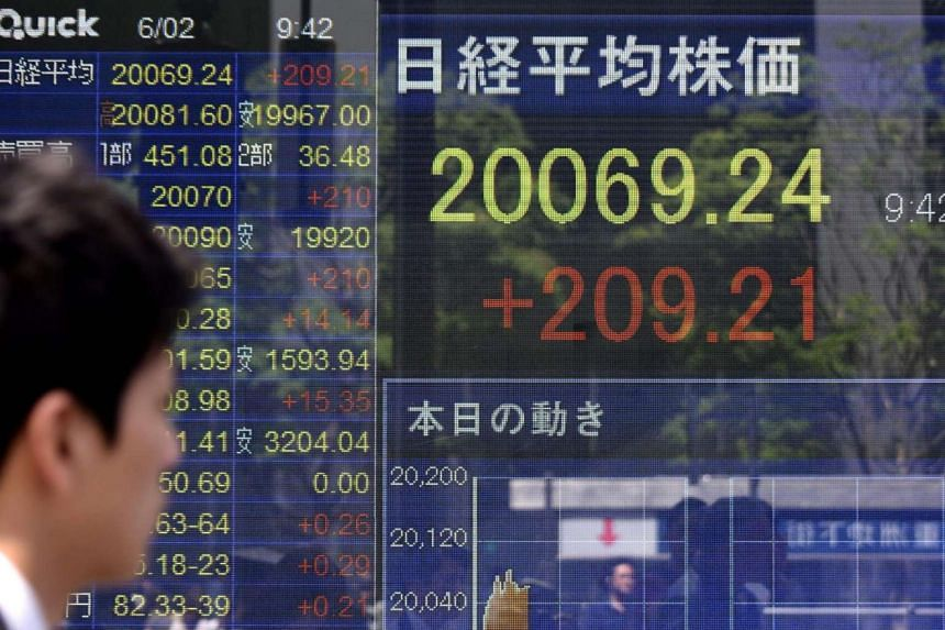 A man looks at a stock quotation board flashing the key Nikkei index of the Tokyo Stock Exchange in front of a securities company in Tokyo.