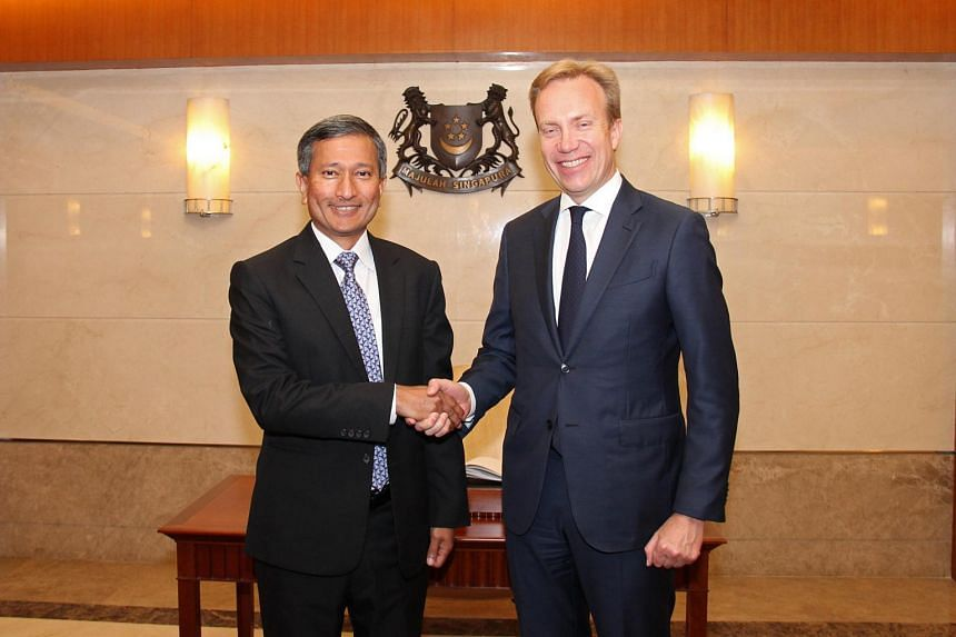 Minister for Foreign Affairs Dr Vivian Balakrishnan hosted a lunch for Norwegian Foreign Minister Borge Brende who is on a working visit to Singapore, on July 4, 2017.
