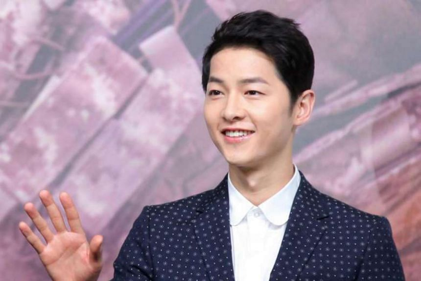 Song Joong Ki at the press conference in Hong Kong for the new K-drama Descendants Of The Sun.