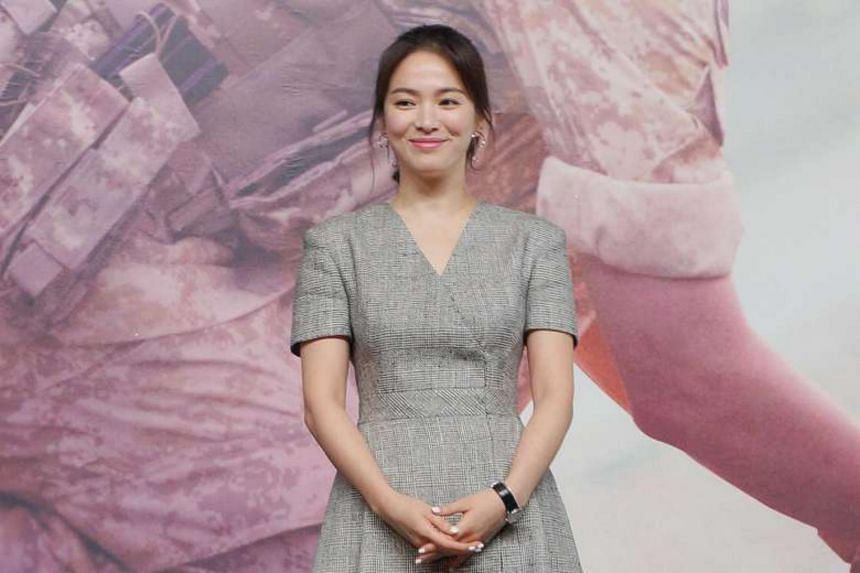 Song Hye Kyo at the press conference in Hong Kong for the new K-drama Descendants Of The Sun.