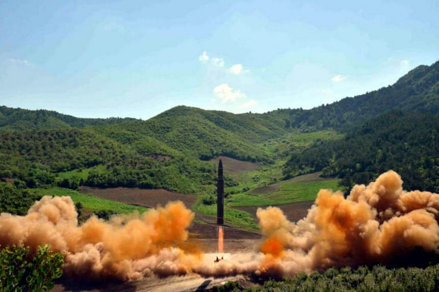 The intercontinental ballistic missile Hwasong-14 is seen during its test launch in this undated photo released by North Korea's Korean Central News Agency (KCNA) in Pyongyang, on July, 4 2017.