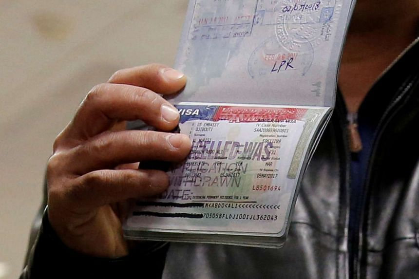A cancelled US visa is seen in a February 2017 file photo.