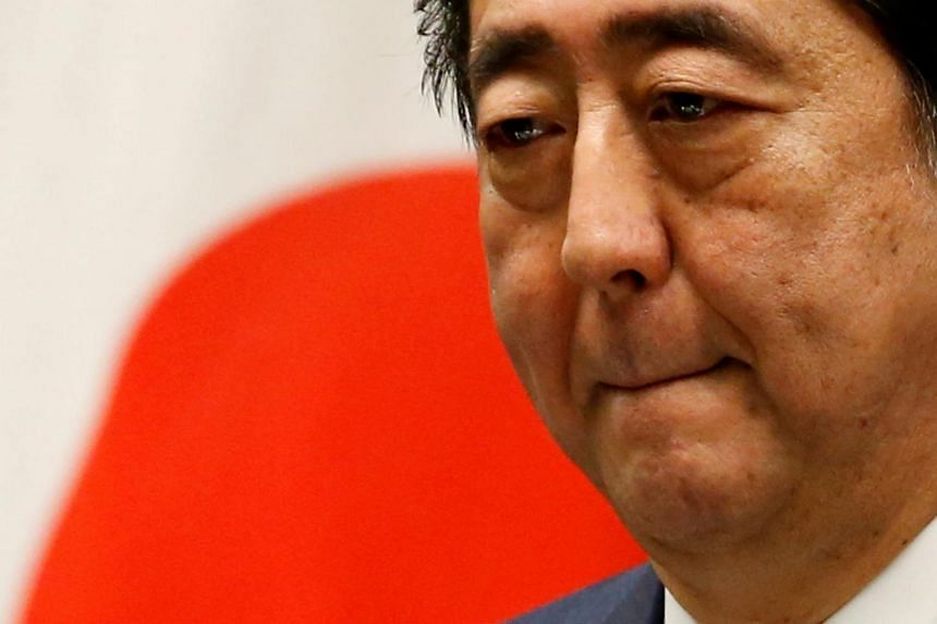 Japan's Prime Minister Shinzo Abe attends a news conference after close of regular parliament session at his official residence in Tokyo.