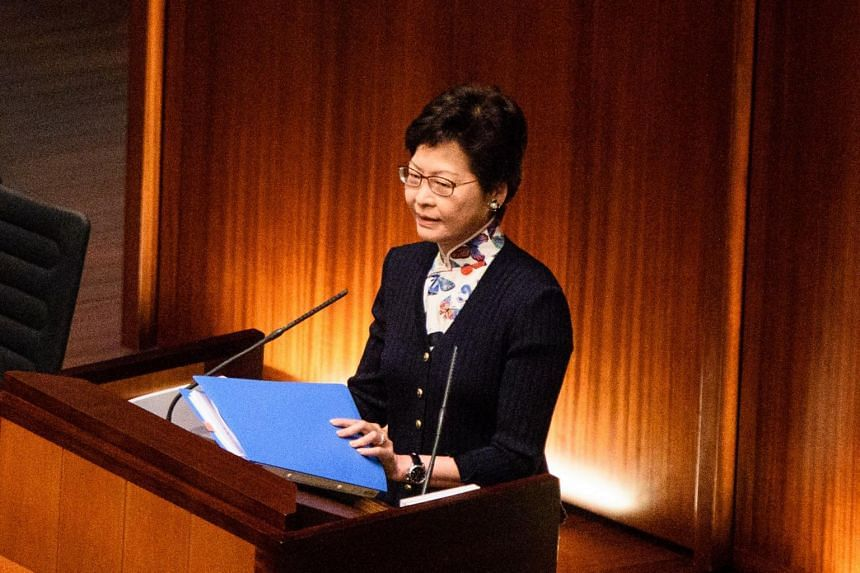 Chief Executive Carrie Lam speaking during her first question and answer session at the Legislative Council (Legco) in Hong Kong on July 5, 2017.