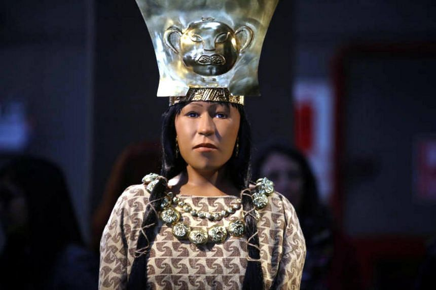 A replica of The Lady of Cao face, a female mummy found at the archaeological site Huaca El Brujo, is seen at the Ministry of Culture in Lima, Peru on July 4, 2017.