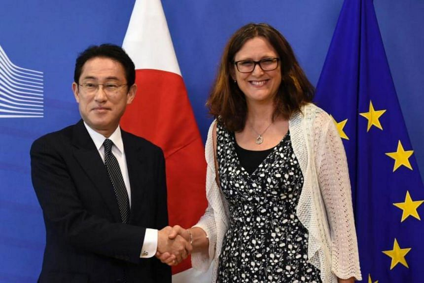 EU Commissioner of Trade Cecilia Malmstrom (right) welcomes Japan Foreign minister Fumio Kishida (left) before their meeting at the EU Headquarters in Brussels on July 5, 2017.