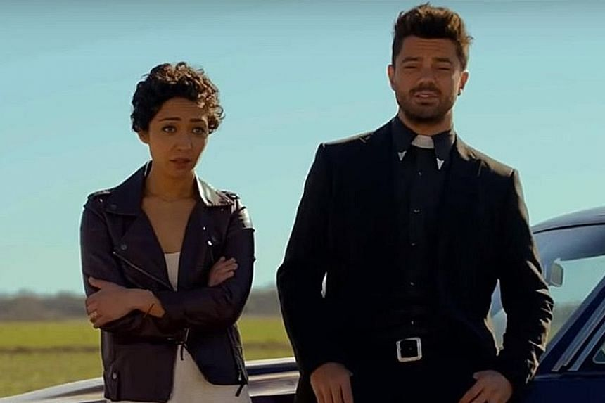 Preacher (starring Ruth Negga and Dominic Cooper, both above) is produced by Seth Rogen and Evan Goldberg.