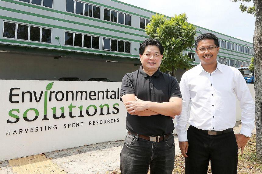 Co-founders Quek Leng Chuang and Sivakumar Avadiar of waste-management firm Environmental Solutions at their factory in Tuas South. Their vision for their business is a world of infinite resource life cycles.