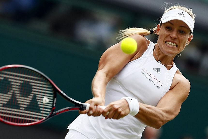 World No. 1 Angelique Kerber hitting a backhand against Irina Falconi in their first-round clash. The German finished with 15 winners and as many unforced errors.