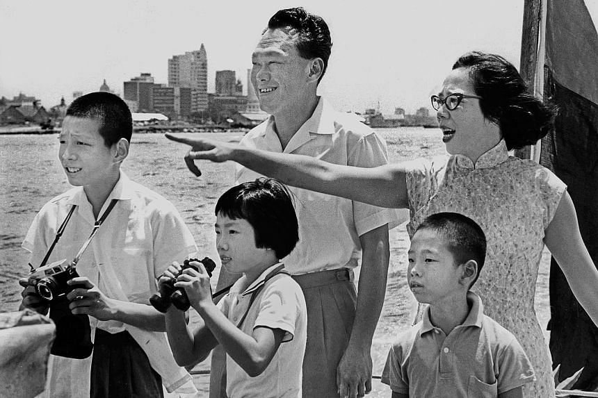 Mr Lee Kuan Yew, Madam Kwa Geok Choo and their three children are seen here on a patrol boat during an outing in 1965. Reflecting how he was told by his father to look after his mother and siblings should anything happen, the Prime Minister said he d