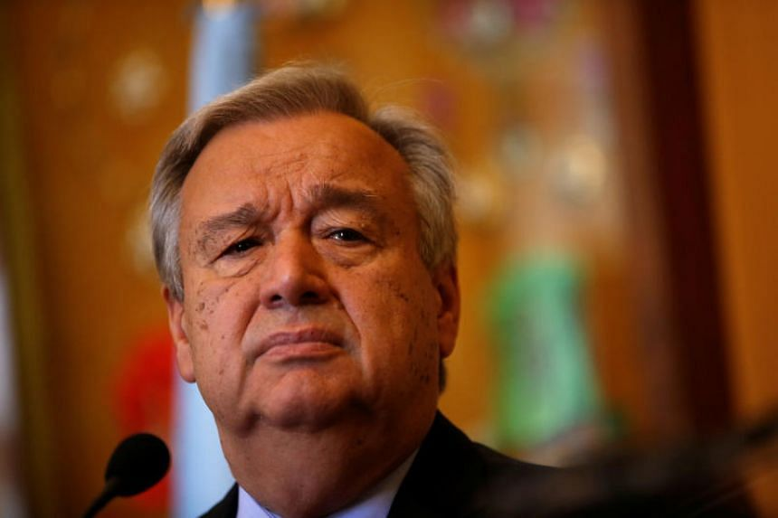 United Nations Secretary-General Antonio Guterres attends a news conference with Portugal's Foreign Affairs minister Augusto Santos (not pictured) at the Necessidades Palace in Lisbon.