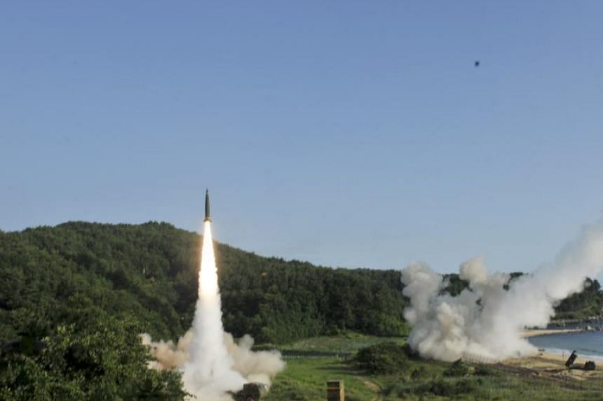Missiles being fired during US-South Korean joint Precision Firing Capability exercise along the east coast in South Korea.