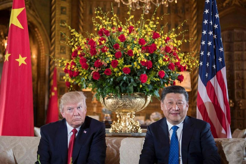Trump and Xi during a bilateral meeting in Florida, April 6, 2017.