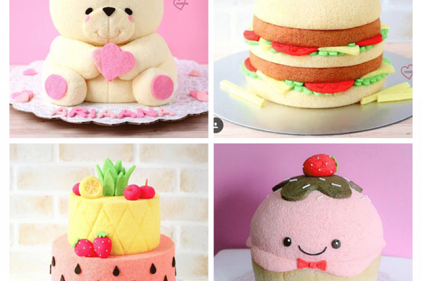 Some of Ms Susanne Ng's intricately-designed chiffon cakes that are fashioned after animals, fruits and cartoon characters.