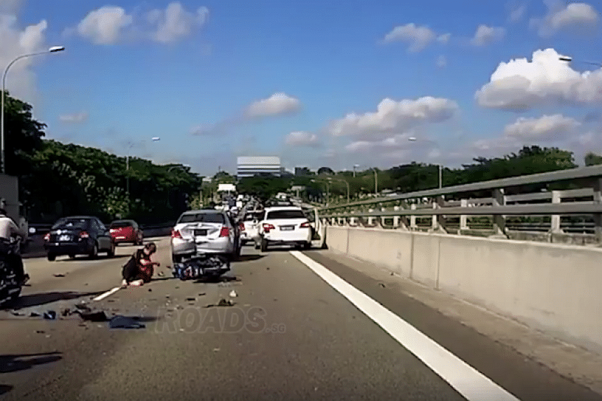 Three cars and a motorcycle were involved in an accident along the Kallang-Paya Lebar Expressway (KPE) and East Coast Parkway (ECP) on Tuesday (July 4). PHOTO: SCREENGRAB FROM FACEBOOK / ROADS.SG