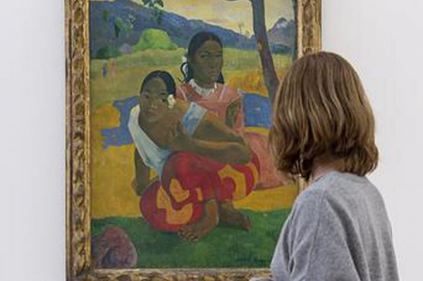 Paul Gauguin's Nafea Faa Ipoipo (When Will You Marry?) on display in the Fondation Beyeler in Riehen, Switzerland, in 2015.
