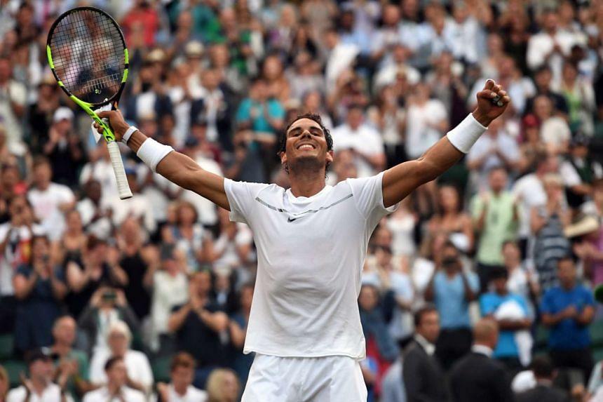 Nadal celebrates his win.