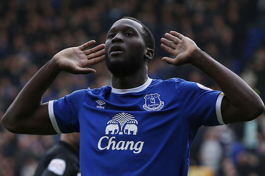 Romelu Lukaku celebrating scoring the third goal for former club Everton in their 3-1 win over Burnley in an English Premier League football match at Goodison Park in April 2017.