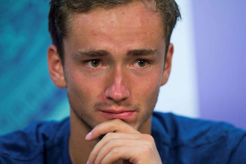 Russia's Daniil Medvedev during a press conference after the match.