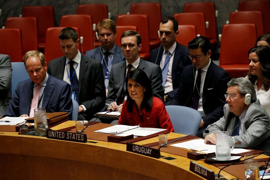 Haley addresses the UN Security Council in New York, July 5, 2017.