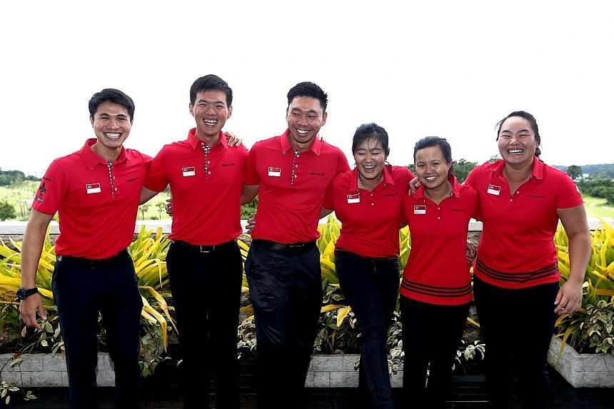 Singapore golfers (from left) Gregory Foo, Joshua Ho, Joshua Shou, Sarah Tan, Jacqueline Young, and Callista Chen believe they can win medals in the team events at the SEA Games.