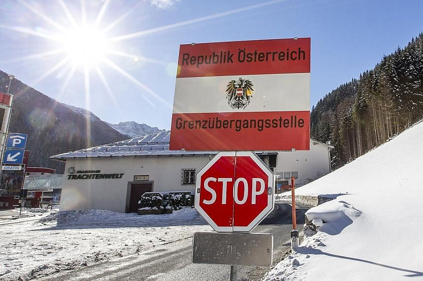 The border post between Austria's Tyrol and Italy's South Tyrol, viewed from the Austrian side.