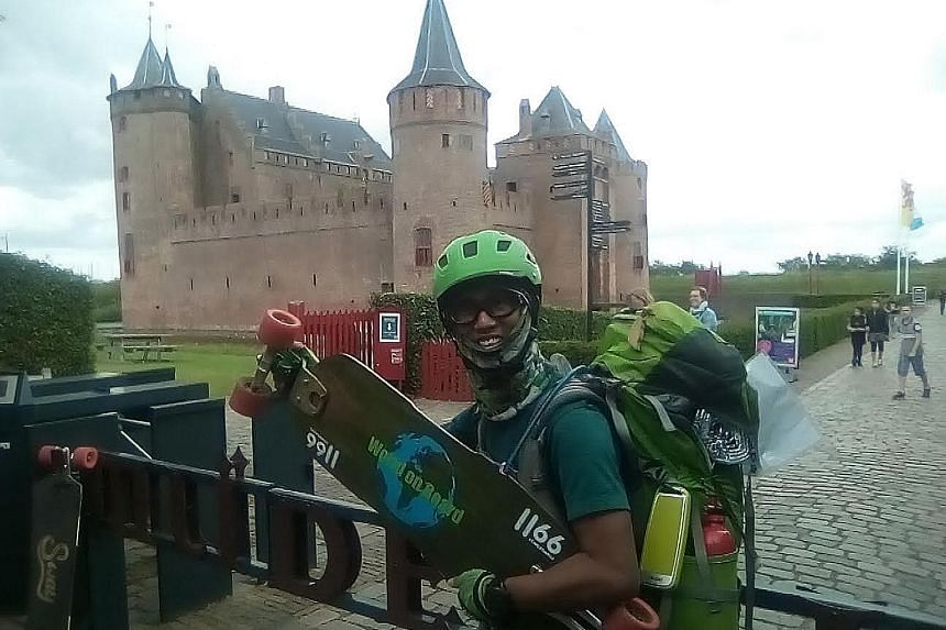 Clockwise from left: Mr Adrian Oh visited Macau, as well as Thailand, during the first leg of his skateboarding journey that took him from Singapore to Hong Kong. He is now in the Netherlands.