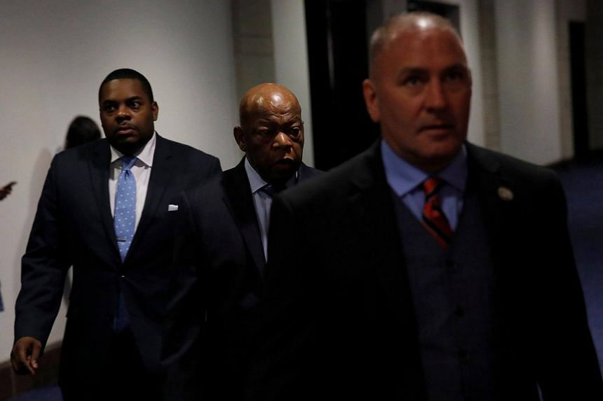 Clay Higgins (right) arrives for a briefing at the US Capitol Building in Washington.