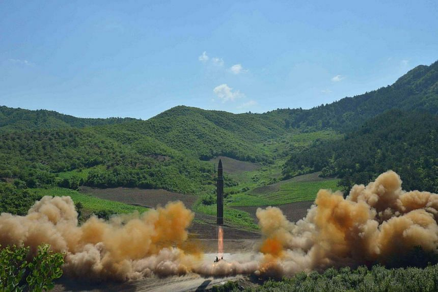The intercontinental ballistic missile Hwasong-14 is seen during its test launch in Pyongyang, on July 4, 2017.