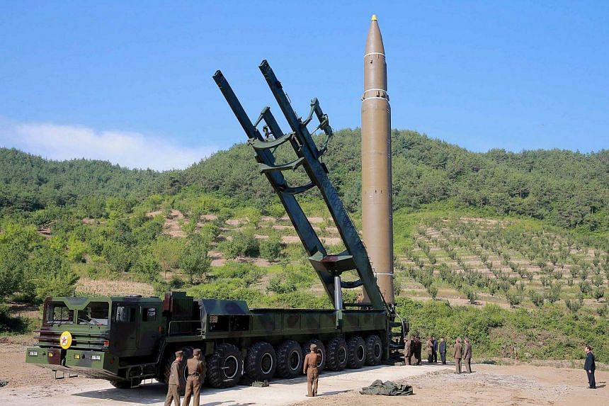 The intercontinental ballistic missile Hwasong-14 in Pyongyang on July 5, 2017.
