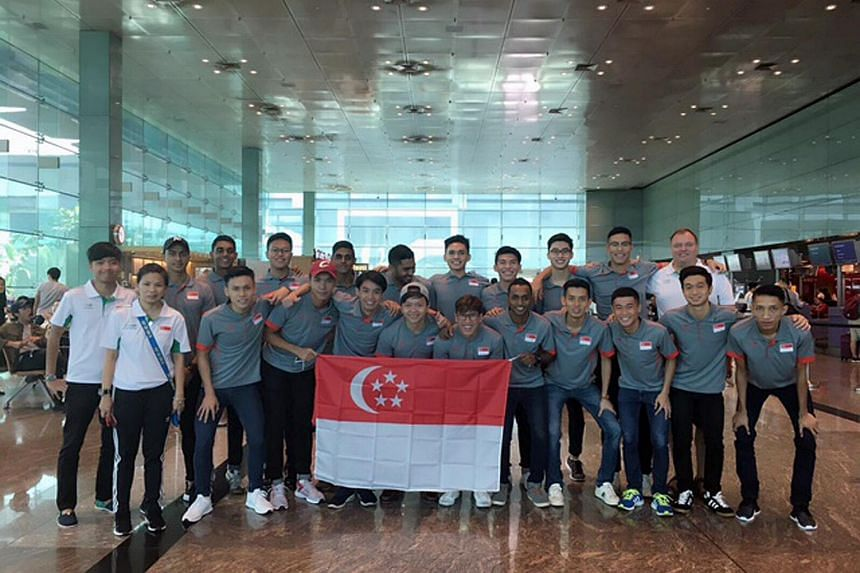 The Singapore's men's national floorball team before the Asia-Oceanic Floorball Confederation Cup.