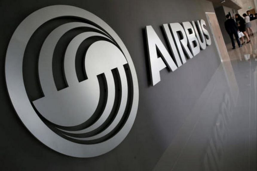 An Airbus signage is pictured at the new Airbus Asia Training Centre in Singapore.