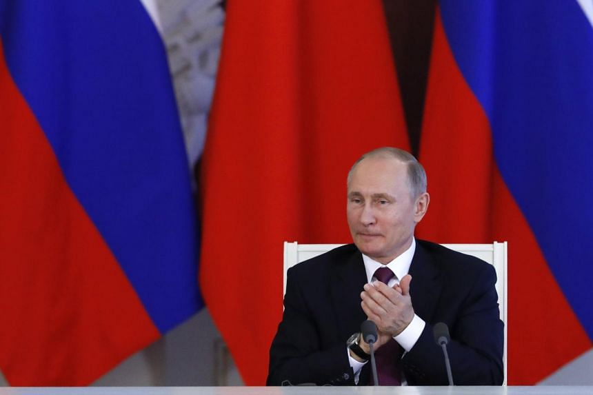 Russian President Vladimir Putin attends a meeting to make a statement following the talks with his Chinese counterpart Xi Jinping at the Kremlin in Moscow, Russia, on July 4, 2017.