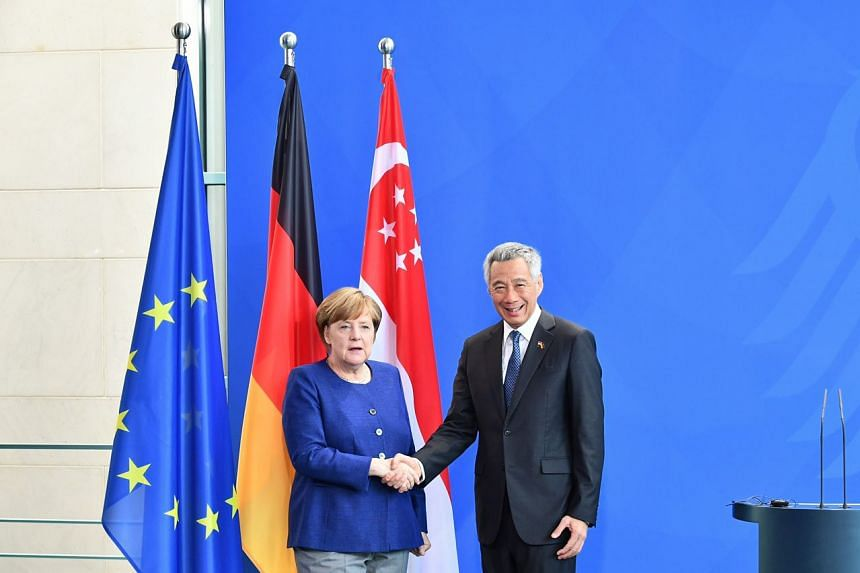 PM Lee Hsien Loong meets German Chancellor Angela Merkel at Berlin's Federal Chancellery on July 6, 2017.