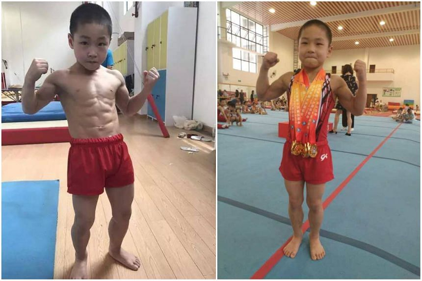 Chen Yi, who displayed unusual strength since he was born, started training to become a gymnast two years ago.