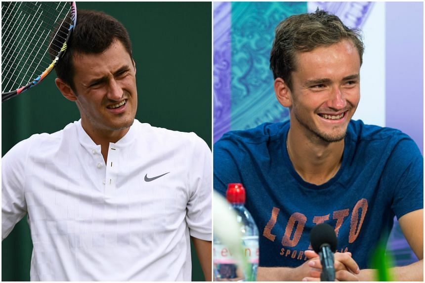 Bernard Tomic (left) was fined £11,600 for a lack of effort  in his defeat by Mischa Zverev, while Daniil Medvedev (right) was poorer by £11,200 after a series of disputes with the umpire in his five-set loss to Ruben Bemelmans in the second round.