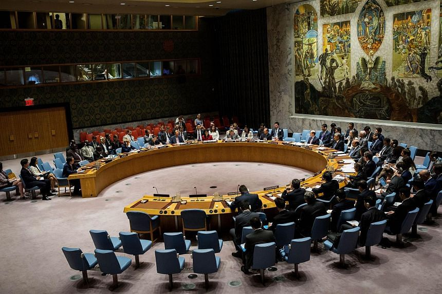 The United Nations Security Council holds an emergency meeting at United Nations headquarters regarding the situation on the Korean peninsula, July 5, 2017 in New York City.