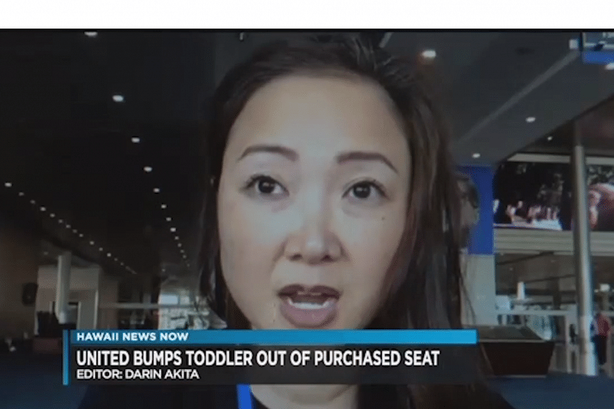 Ms Shirley Yamauchi being interviewed by Hawaii News Now after her toddler's seat was given away by United Airlines