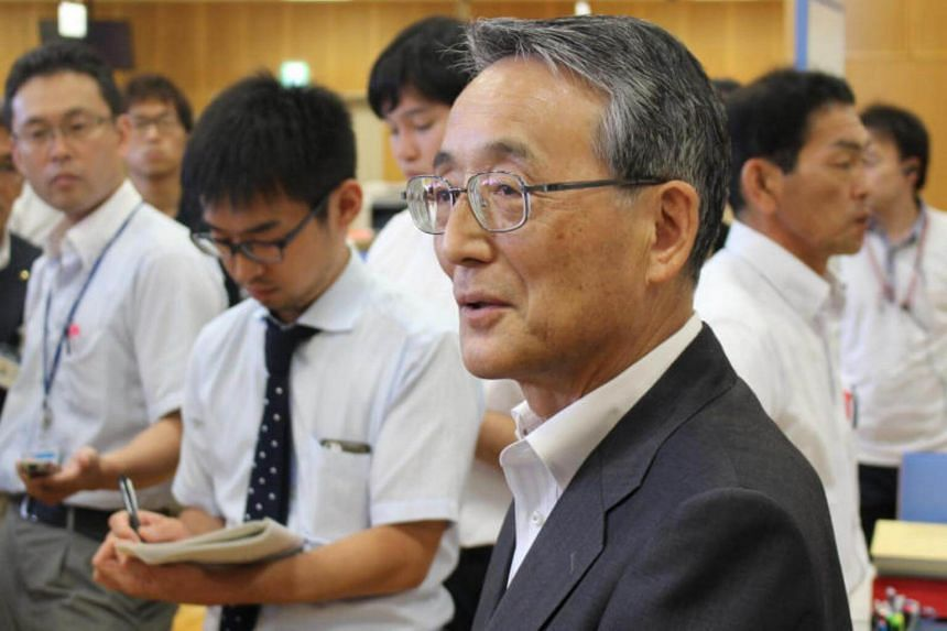 Mr Shunichi Tanaka, head of Japan's Nuclear Regulation Authority, speaks to reporters in Takahama, Fukui prefecture, on July 6, 2017.