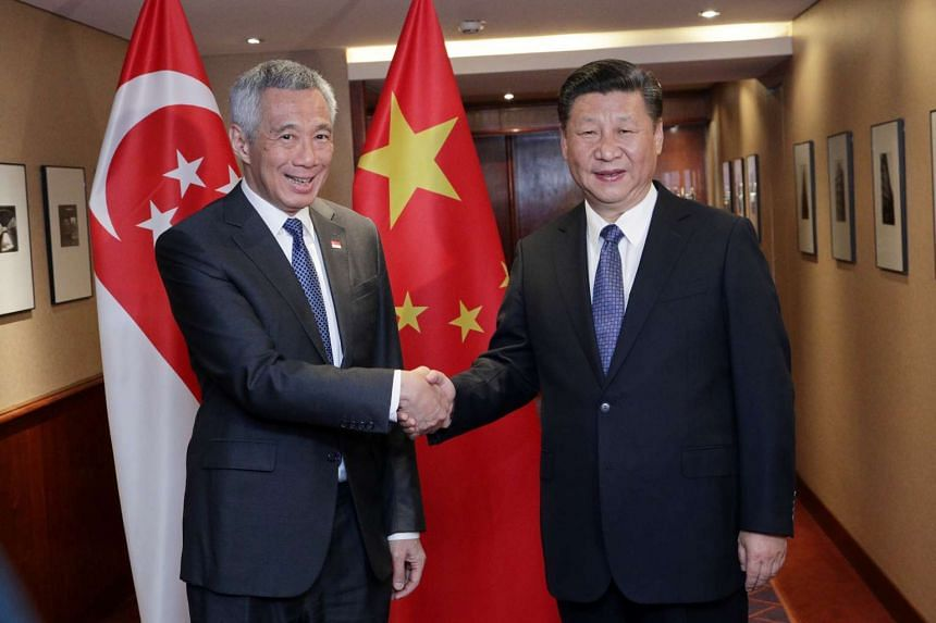Prime Minister Lee Hsien Loong and President Xi Jinping meet in Hamburg on July 6, 2017.