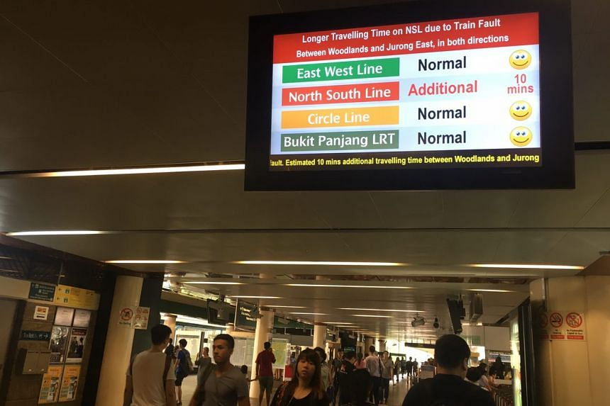 Sign at Yishun MRT warning of delay in travelling time, on Friday (July 7) morning.